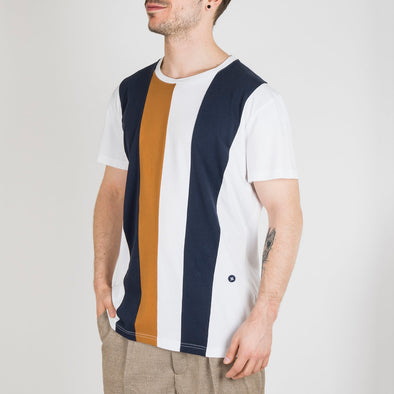 Jersey knitted patchwork tee-shirt with vertical pannels of coloured jersey.