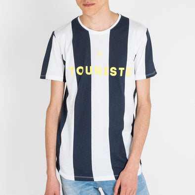 "Football inspired crewneck t-shirt in soft cotton jersey, allover striped, with ""Touriste"" serigraphy on the chest."