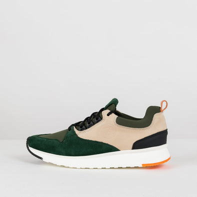 Bulky urban lace-up runners in beige nubuck with military green and forest green panels with white rubber sole