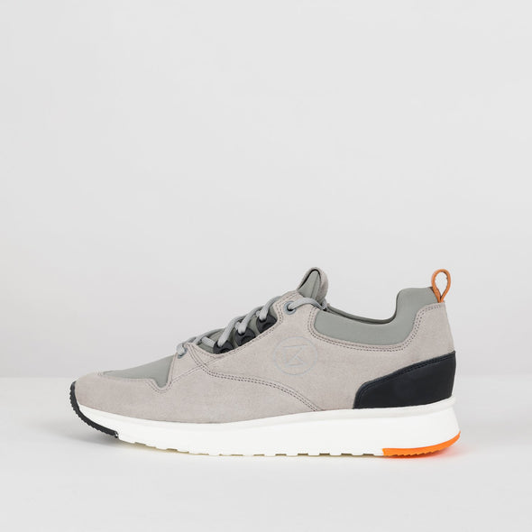 Bulky urban lace-up runners in paneled grey suede with white rubber sole