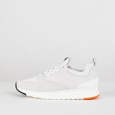 Bulky urban lace-up runners in paneled white nubuck with white rubber sole