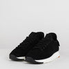 Functional runner in seamless perforated black suede with neoprene heel and velcro buckle with lettering print, white rubber sole