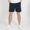 Dark navy cotton shorts with inner tailored waist and antique brass zipper fly.