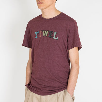 "Straight cut marsala melange t-shirt with ""Tiwel"" letters on the front."