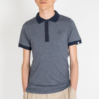 Striped polo with Tiwel's logo on the front.