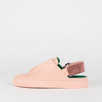 Low top cut-out ankle sneakers in peach leather with interchangeable straps for the ankle.