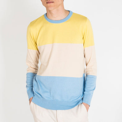 Long sleeve crew neck in yellow, sand and pastel blue.