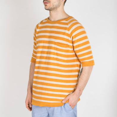 Macadamia knitted crew neck stripe t-shirt, made from a cotton-crepe yarn.