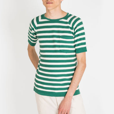 Green knitted crew neck stripe t-shirt, made from a cotton-crepe yarn.