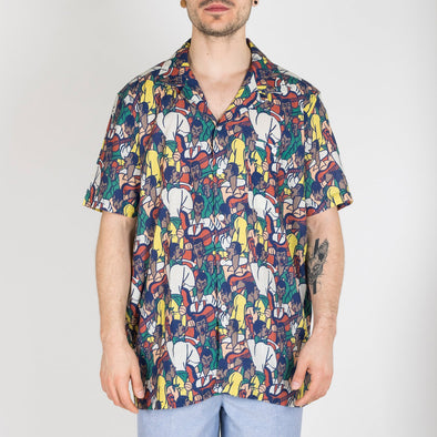 dhort sleeved bowling shirt in a fiesta print design.