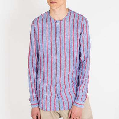Blue-red striped linen shirt with inside chest pocket.