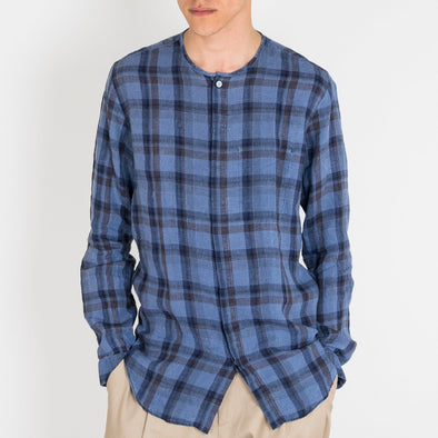 Dark blue with tonal check linen shirt with inside chest pocket.