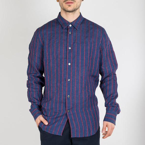 Navy blue melange with red tribal striped effect linen-cotton shirt.