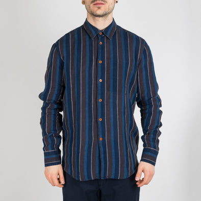 Indigo-dyed blue-brown striped linen shirt with single chest pocket.