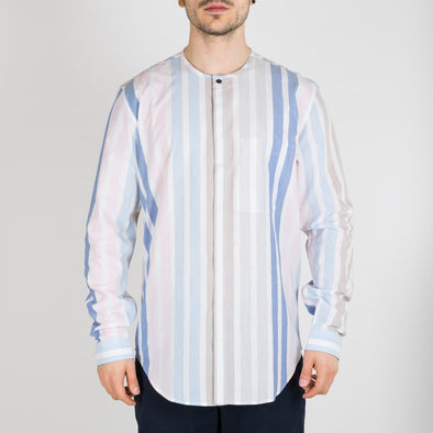 Pastel striped shirt with inside chest pocket.
