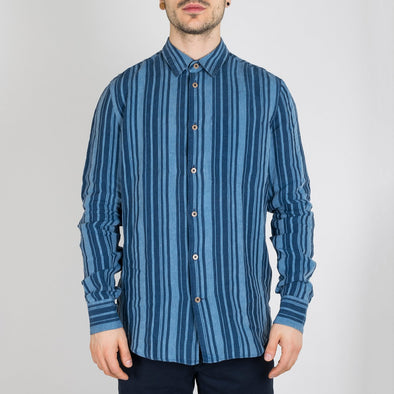 Slim fit indigo dyed striped linen shirt with inside single chest pocket.