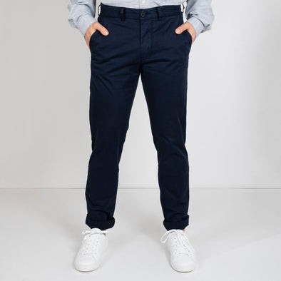 Navy blue chinos with embroidery details & inside print.