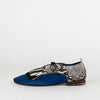 Midnight blue ankle shoes with black and white fringe and snake pattern.