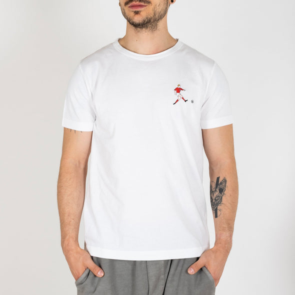 Cotton white t-shirt with Bobby More embroidery.