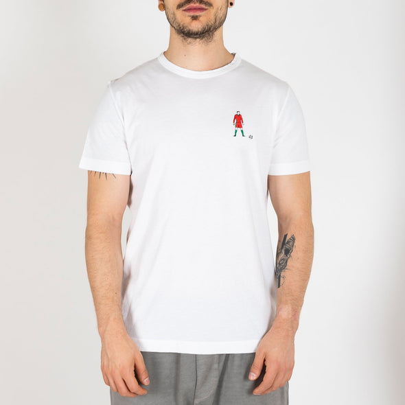 Cotton white t-shirt with Cristiano Ronaldo embroidery.