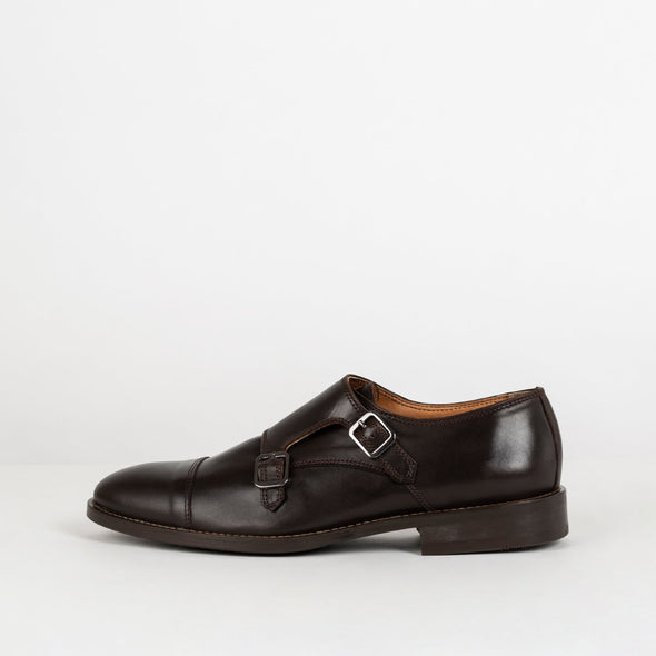 Brown leather double-strap monk shoes.