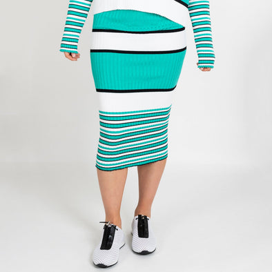 Striped tube skirt in shades of aquamarine blue, white and black.