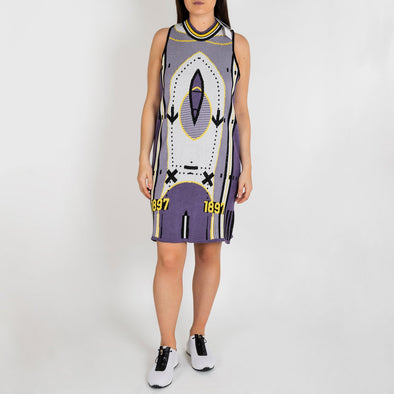 Multicolored jacquard knitwear sporty sleeveless dress.