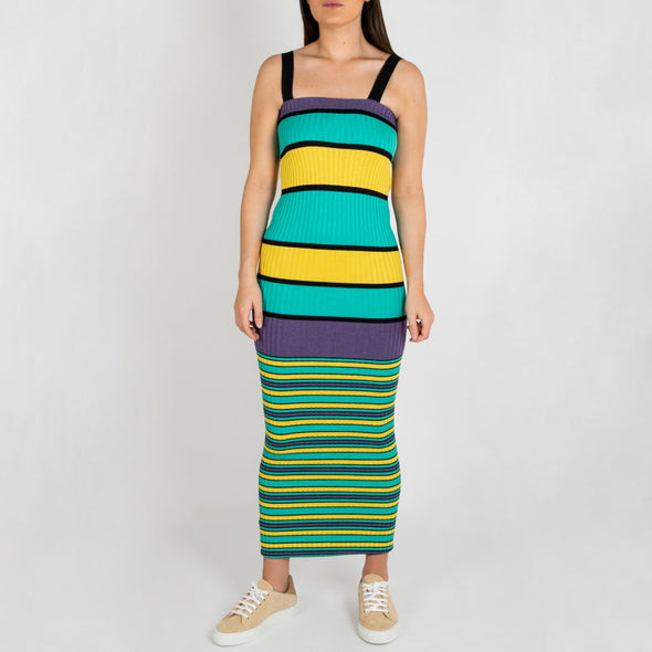Multicolored striped rib long dress with elastic wide straps.