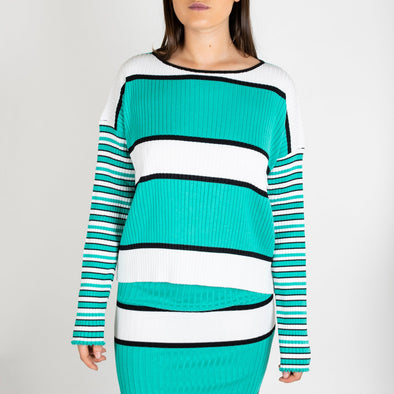Striped rib sweater with extralong sleeves.