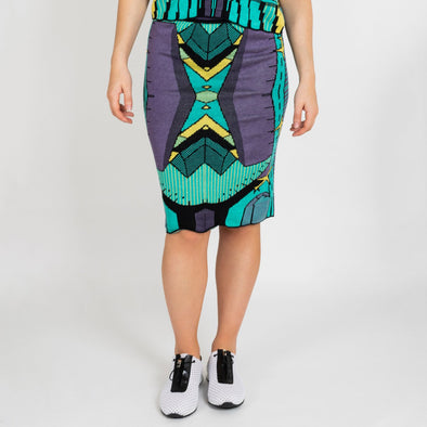 Multicolored jacquard knitwear symmetric skirt.