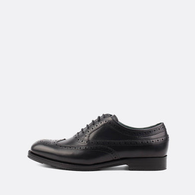 Fine black polished leather oxford shoes.