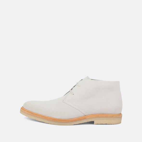 Ice colored suede hight-top derby shoes with neutral toned sole.