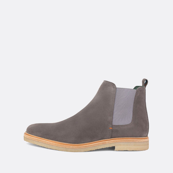 Taupe suede chelsea boots with neutral toned sole.