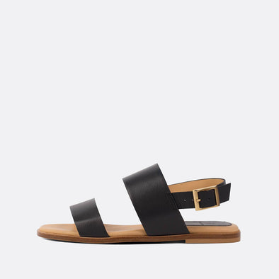 Minimalist double-strap sandals in black leather.