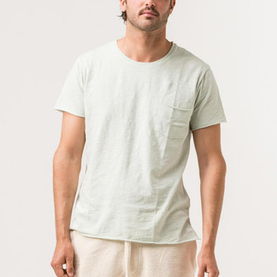 Light minty green minimalist tee with natural lines of 'flamê' knit fabric.