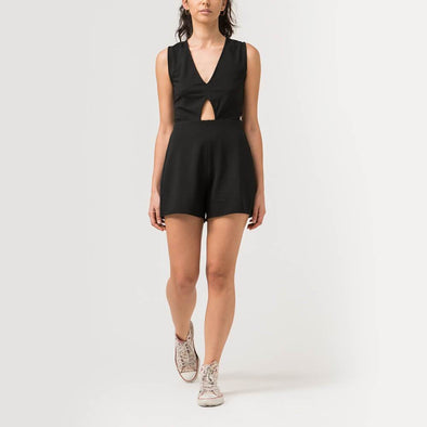Black cotton-jersey playsuit defined by cutout and a V-neckline.