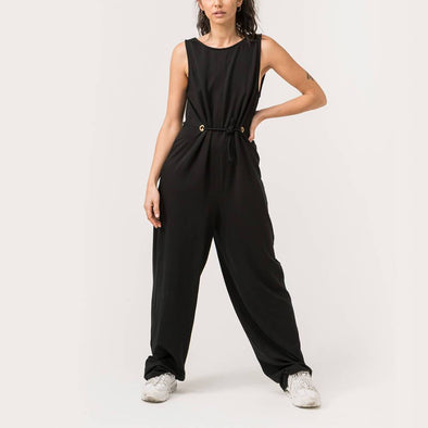 Black effortless chic jumpsuit with a deep V back.