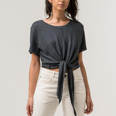 Charcoal lightweight t-shirt tied with a front knot.