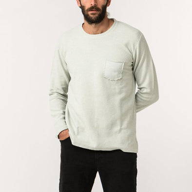 Minimalist light minty green 'inside-out' style rustic sweatshirt.