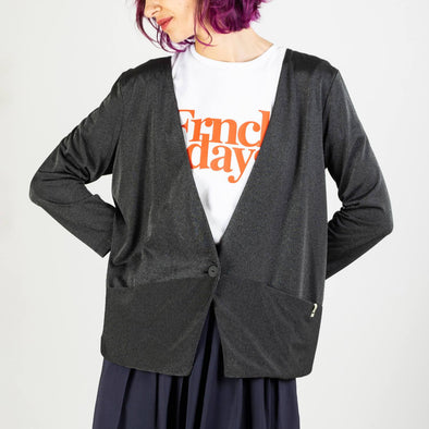Long sleeve blazer made of a delicate viscose knit with soft bright silver effect.