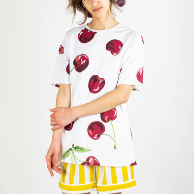 Unisex white t-shirt with maxi cherries print.
