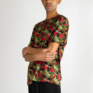 Unisex t-shirt with cherry camouflage print in red, green,black and brown.