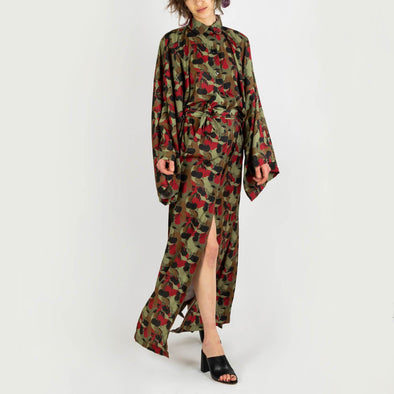 Long sleeved maxi kimono shirt with cherry camouflage print.