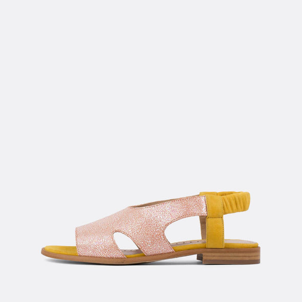 Elegant texturized leather slingback sandals with yellow velour details.