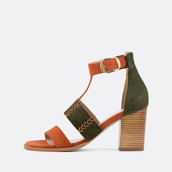 Olive green and brick suede buckle sandals with wooden heel.