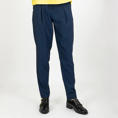 Distinguished navy blue trousers with stripes and an elasticated waistband.