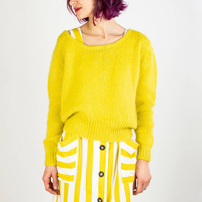 Comfortable wide vibrant yellow knit sweater.