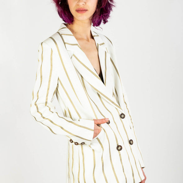 White linen crossover blazer jacket with golden stripes.