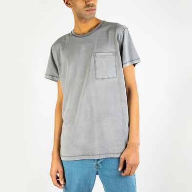 Washed grey 100% cotton tee with chest pocket.