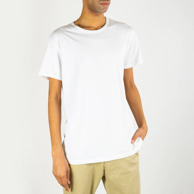Round neck white 100% cotton tee.